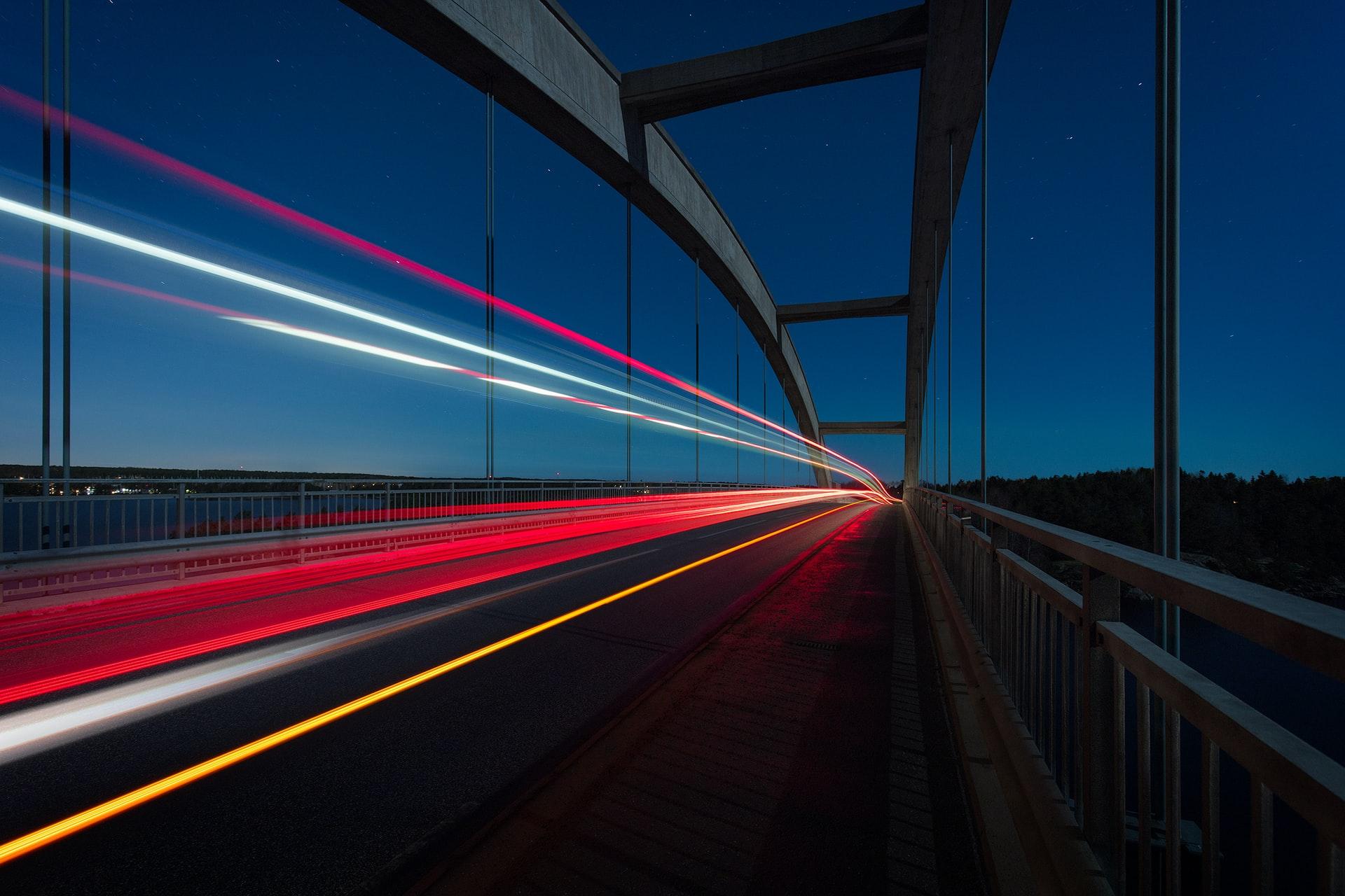 Lights over a bridge